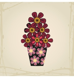 Doodle flowers in tattoo style and black vase vector image