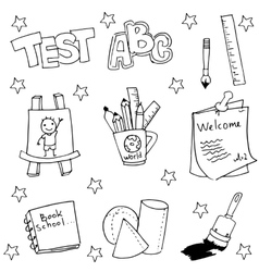 Doodle of school tools with hand draw vector