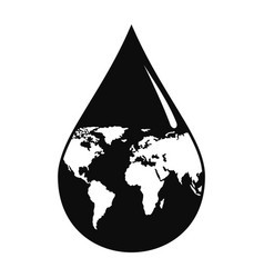 Earth water drop icon simple style vector