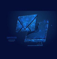 email on monitor low poly blue vector image