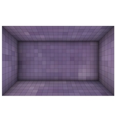 Empty futuristic room with purple mosaic walls vector