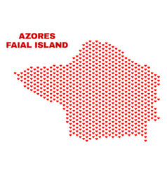 faial island map - mosaic of love hearts vector image