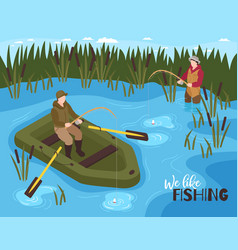 Fishing outdoors isometric composition vector