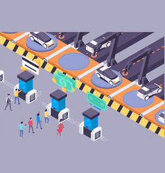 flat future transportation services with urban car vector image