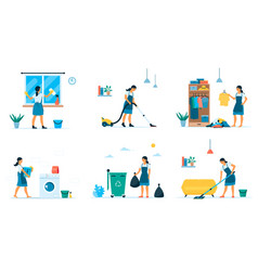 Flat set woman making different vector