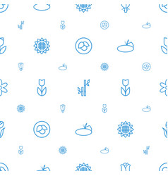 Floral icons pattern seamless white background vector