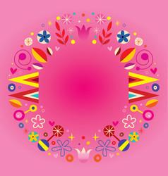 floral retro circle round frame border vector image