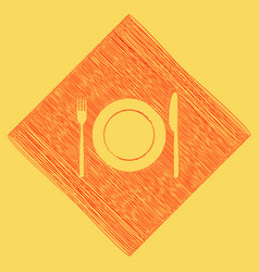 Fork knife and plate sign red scribble vector