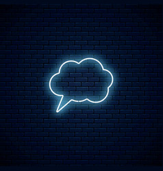 Glowing neon empty speech bubble frame cloud vector