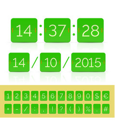 Green countdown timer and scoreboard vector