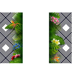 green summer with tropical leaves and flowers vector image