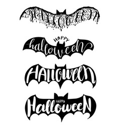 halloween lettering on bat for halloween party vector image