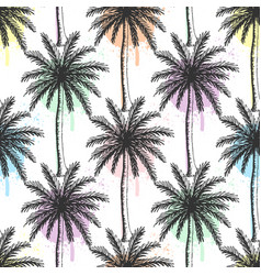 hand drawn palm trees seamless pattern vector image