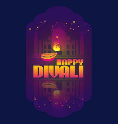 happy divali of indian lamp vector image
