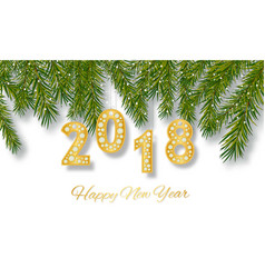 Happy new year 2018 greeting card design with vector