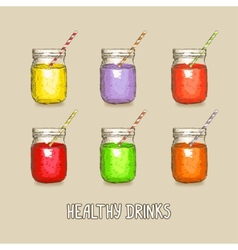 healthy drinks set vector image