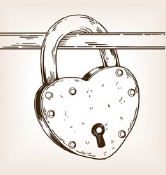heart shaped lock engraving vector image