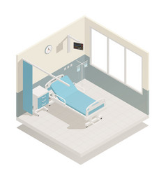 Hospital ward equipment isometric composition vector