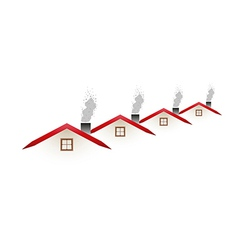 Houses and smoking roofs vector