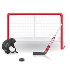 Ice hockey gear and goal vector