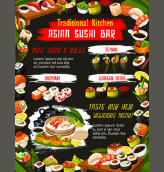 Japanese suhi with sauce and chopstics bar menu vector