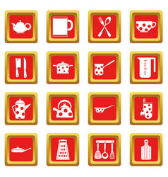 Kitchen tools and utensils icons set red vector
