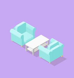 low poly isometric armchairs and coffee table vector image