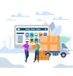 man worker giving parcel box to young recipient vector image