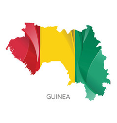 Map guinea with an official flag on white vector