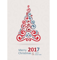 Merry Christmas Card Happy New Year vector image