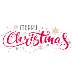 merry christmas handwritten calligraphy text and vector image