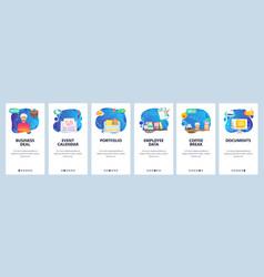 Mobile app onboarding screens employee portfolio vector