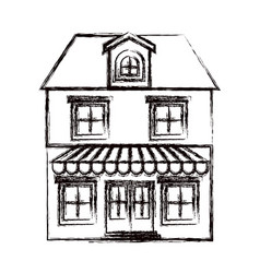 Monochrome blurred silhouette of house with two vector