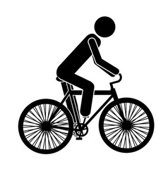 Monochrome pictogram of man in sport bicycle vector