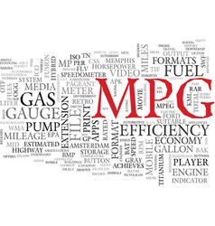 Mpg word cloud concept vector