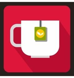 Mug with tea bag icon flat style vector