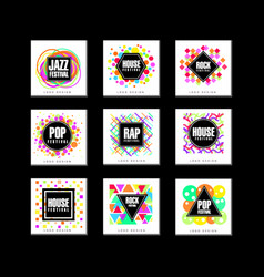 Music festival logo set classic house pop rap vector