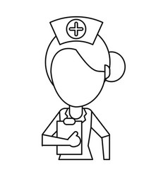 nurse work hospital clipboard thin line vector image