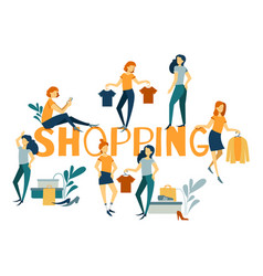 online shopping landing page banner concept vector image