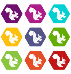 origami squirrel icons set 9 vector image