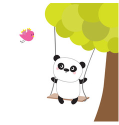 panda ride on swing green tree flying pink vector image