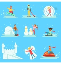 People Having Fun In Snow In Winter Collection Of vector