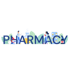 Pharmacy word cartoon flat vector