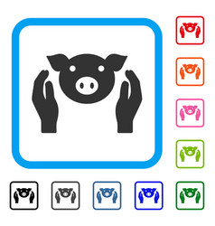 pig care hands framed icon vector image