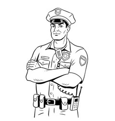 Policeman coloring book vector