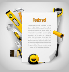 Realistic carpenter tools background frame vector image vector image