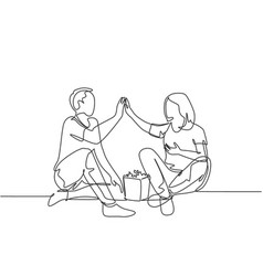 romantic relationship concept one line drawing vector image