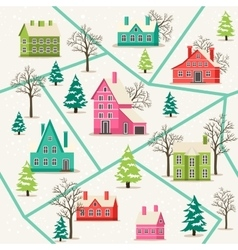 Rural winter landscape seamless pattern vector image
