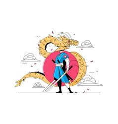 Samurai man with katana vector