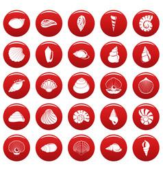sea shell icons set vetor red vector image